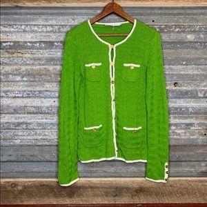 Trina Turk green and white cardigan sweater